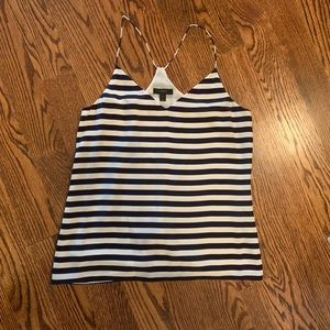J Crew silk camisole size 2 navy and white